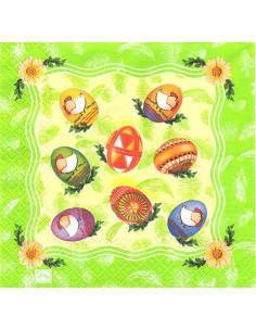 Tovagliolo uova pasquali dipinte