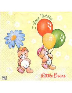 Tovagliolo orsetti con palloncini e fiore