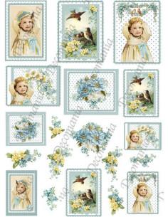 Carta riso Uccellini e fiori