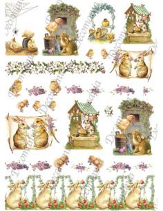 Carta riso   Conigli e pulcini  cod.5327
