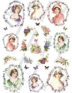 Carta riso Quadri donna e fiori