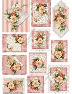 Carta riso Rose di macchia e stoffa