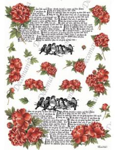 Carta riso Peonie rosse , Scritte, Uccellini