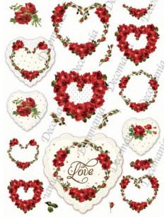 Carta riso 5345 Rose rosse e cuori