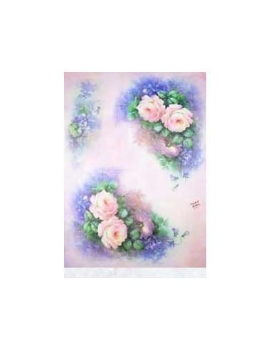 carta riso rose e fiori azzurri sonie ames