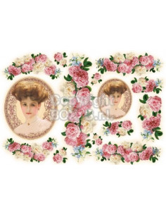 Carta riso donna con rose